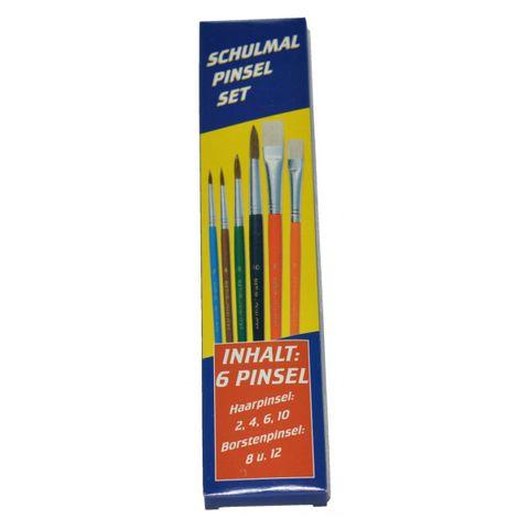 Pinsel Starter Set 6tlg - Naturhaar - 4 Haarpinsel (Aquarellpinsel) und 2 Borstenpinsel – Bild 2