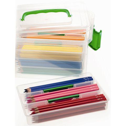 Dreikant Buntstifte Set - 216 dreieckige Farbstifte 18x12 Farben in Kunststoffbox – Bild 2
