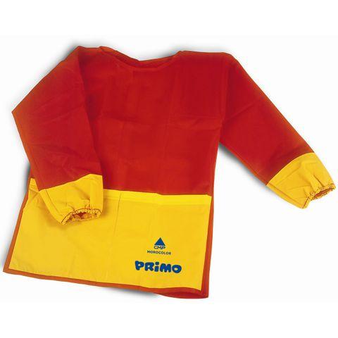 Kinder Malschürze Malkittel langärmelig, rot/gelb, Universalgröße 3-8 Jahre