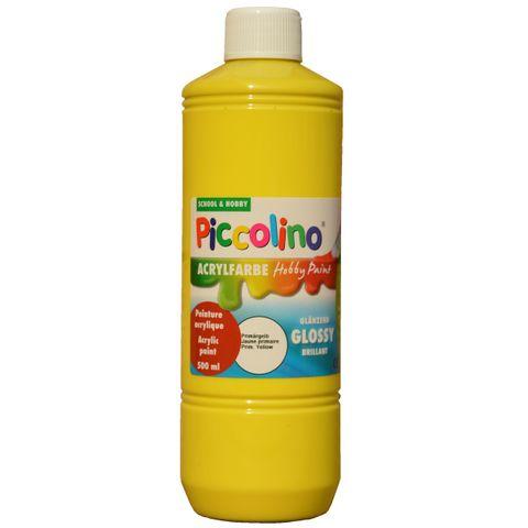 Glänzende Acrylfarbe Piccolino Hobby Paint, Primär-Gelb 500ml Flasche – Bild 1