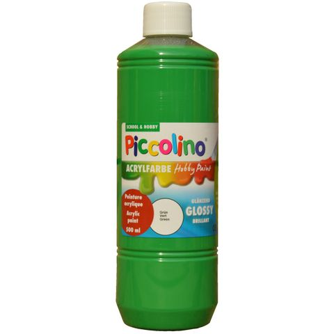 Glänzende Acrylfarbe Piccolino Hobby Paint, Grün 500ml Flasche – Bild 1
