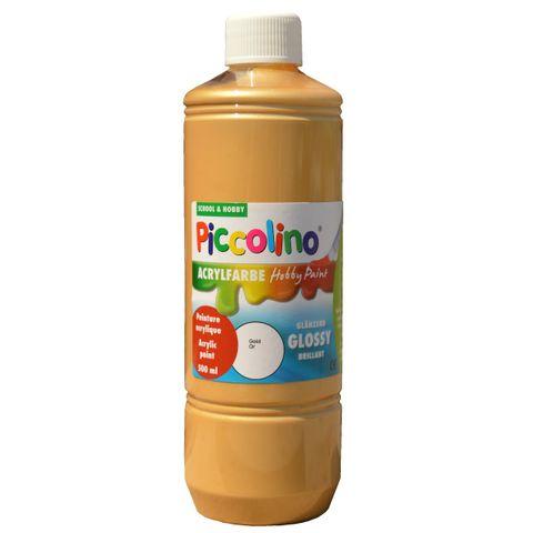 Glänzende Acrylfarbe Piccolino Hobby Paint, Gold 500ml Flasche – Bild 1