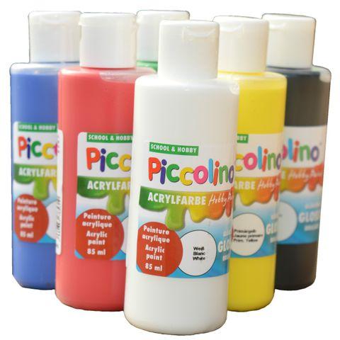 Acrylfarben Set 6x85ml Piccolino Hobby Paint glänzend - 6 Flaschen je 85ml – Bild 2