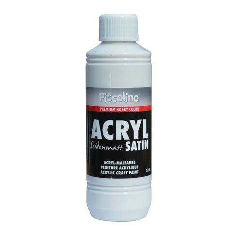 Acrylfarbe seidenmatt Weiß 250ml Flasche - Piccolino Acryl Satin, Premium Hobby Color – Bild 1