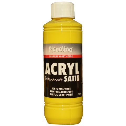 Acrylfarbe seidenmatt Primär-Gelb 250ml Flasche - Piccolino Acryl Satin, Premium Hobby Color – Bild 1