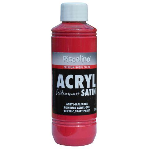 Acrylfarbe seidenmatt Karminrot 250ml Flasche - Piccolino Acryl Satin, Premium Hobby Color – Bild 1