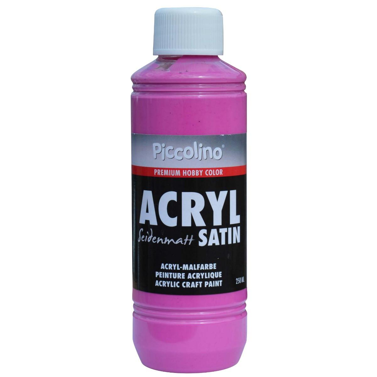 Acrylfarbe seidenmatt Pink 250ml Flasche - Piccolino Acryl Satin, Premium Hobby Color