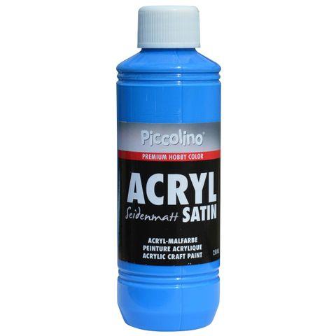 Acrylfarbe seidenmatt Primär-Blau 250ml Flasche - Piccolino Acryl Satin, Premium Hobby Color – Bild 1