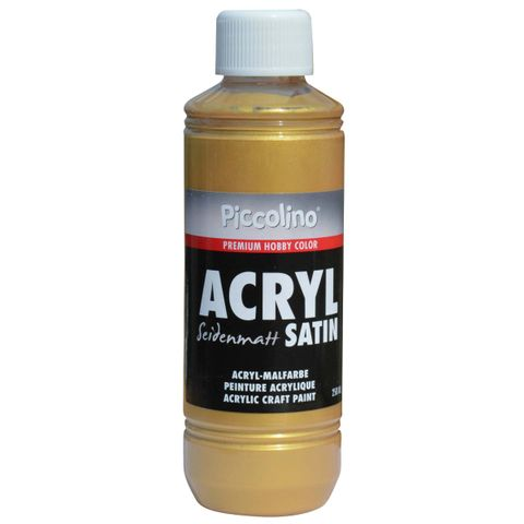 Acrylfarbe seidenmatt Gold 250ml Flasche - Piccolino Acryl Satin, Premium Hobby Color