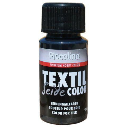 Seidenmalfarbe Schwarz 50ml - Seidenfarbe Piccolino Textil Color zum Malen - Textilfarbe Seide – Bild 1