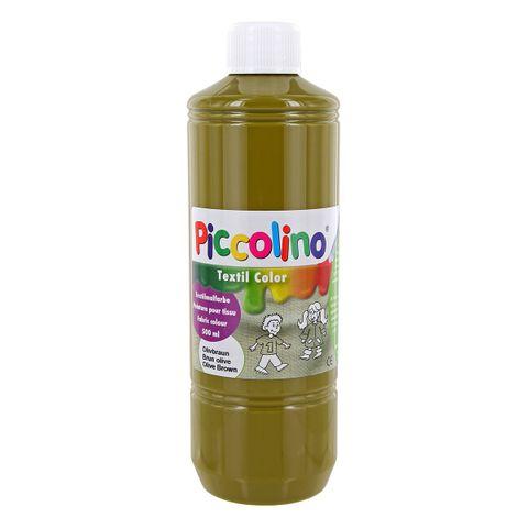 Textilfarbe olivbraun 500ml - Stoffmalfarbe PICCOLINO Textil Color – Bild 1