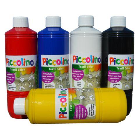 Textilmalfarben Stoffmalfarben Set - 5x500ml Primärfarben - Piccolino Textil Color – Bild 1