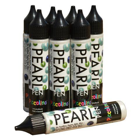 Piccolino Pearl Pen Set 8x28ml - inkl. Gold & Silber - Perlen Pen für Textil Papier Holz Metall