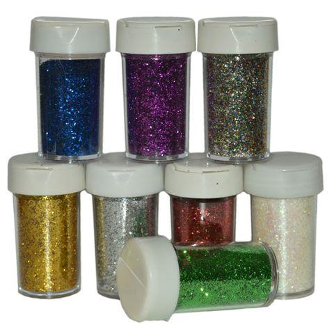 Deko Glitter Set 8x20g - Glitzer zum Basteln, sortiert in 8 Farben