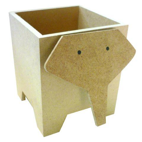 Stiftebecher Stiftebox Elefant aus Holz natur zum Selbstgestalten 12x8,5x10cm