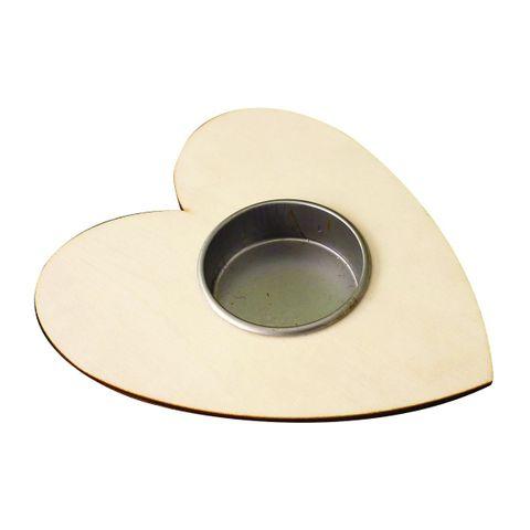 5 Teelichthalter Holz - Herz zum Bemalen & Selbstgestalten, 10x12x2cm groß – Bild 1