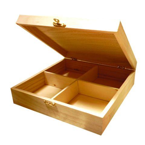 Teekiste Holzkasten für Teebeutel, Holz natur zum Selbergestalten 20x20x5,7cm