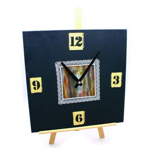 Wanduhr Holz Uhr mit Uhrwerk zum Selbstgestalten - viereckig quadratisch 30x30cm