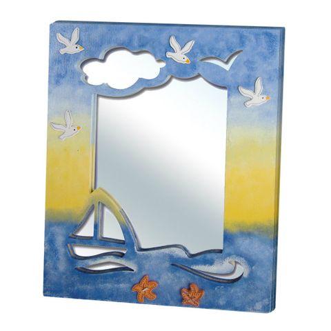 Spiegel Holz natur - Wandspiegel zum Bemalen & Selbstdekorieren 22,5x26,5cm – Bild 2