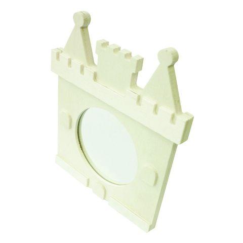 Spiegel Holz natur - Motiv Schloss - Kinderspiegel zum Bemalen 12x14cm – Bild 1