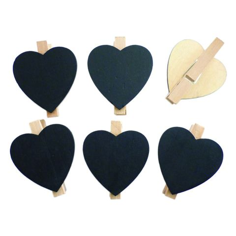 6x Tischkarten - Holz Mini-Tafel Herz - Kreidetafel auf Klammer Ø 4,5cm