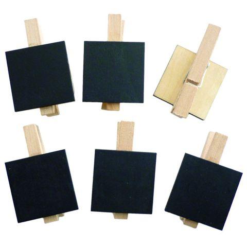 6x Tischkarten - Holz Mini-Tafel auf Klammer 3x3cm, für Hochzeit & Feste