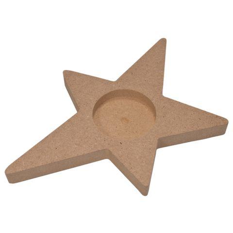 4 Teelichthalter MDF-Holz - Stern zum Bemalen & Selbstgestalten, 15x11cm – Bild 2