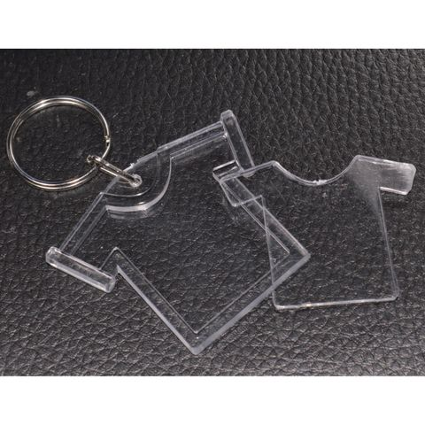 6x Foto Schlüsselanhänger Acryl-Glas T-Shirt - Rohling für Passfoto Bild 3x3cm – Bild 4