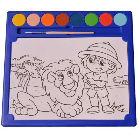 Malen nach Zahlen WILDTIERE & RANGER - Malset 6 Bilder 8 Wasserfarben 1 Pinsel – Bild 1