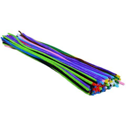 Chenilledraht - 100 Pfeifenputzer bunt Ø 9mm 50cm - Großpackung Kindergartenpackung – Bild 1