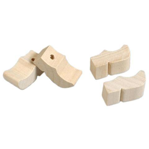 Holländische Holzschuhe mini mit Loch, 12mm 5 Paar (10 Stk) - Clogs Klompen zum Bemalen
