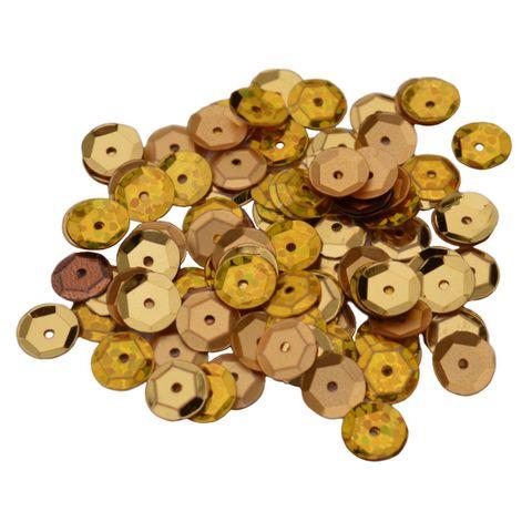 Pailletten 6mm rund gewölbt - gold - zum Annähen, 30g (ca. 2500 Stück) – Bild 1