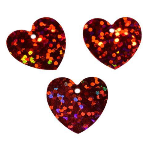 Herz Pailletten rot, flach, zum Annähen 1,7x1,7cm, 31g (ca. 400 Stück) – Bild 1