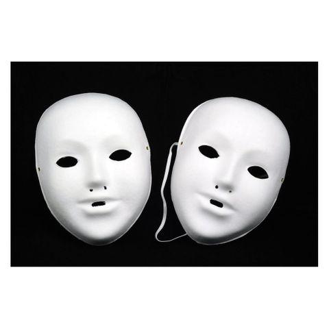 10 Kindermasken aus Pappe inkl. Gummi, blanko weiß zum selber Bemalen & Basteln