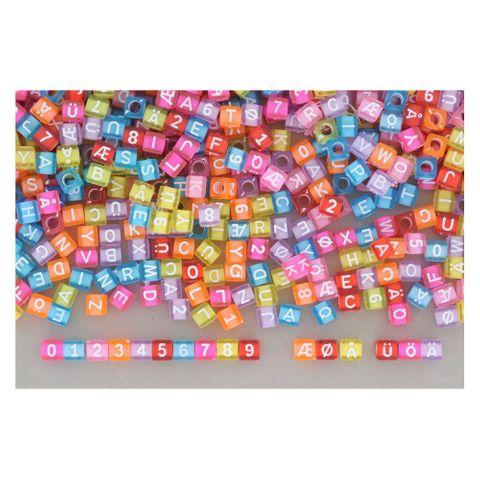 Buchstabenperlen - Buchstabenwürfel Kunststoff transparent 6x6mm - 1kg/6.000 Stk – Bild 3