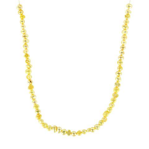 Süßwasserperlen Strang barock, gelb (ca. 70 Stück) – Bild 1
