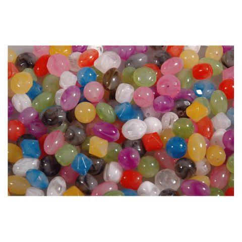 500 Plastikperlen transparent, Kunststoffperlen Acryl onyx, 1kg Großpackung