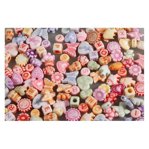 4000 Plastikperlen Buchstaben & Figuren Kunststoffperlen Mix 1kg Großpackung – Bild 1