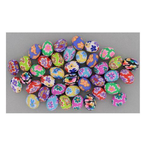 Polymerperlen oval 11x14mm Bunt Mix Blumen Millefiori schöne Farben, 40 Stk – Bild 1