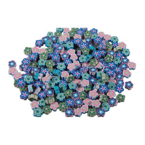 100 Polymerperlen - flache Scheibenperlen Blumen Ø 10mm 5x20 Stk sortiert – Bild 1