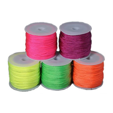 Makramee Garn Neon - 90m Knüpffaden Polyester 1,7mm in 5 Neon-Farben sortiert – Bild 1