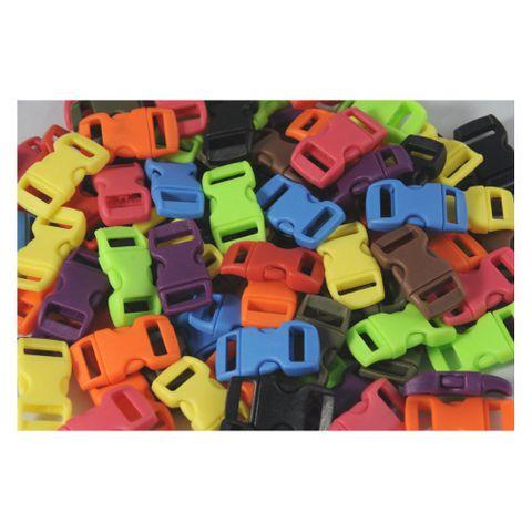 100 Klickschnallen 11mm Steckverschluss ideal für Paracord Armbänder, 10 Farben