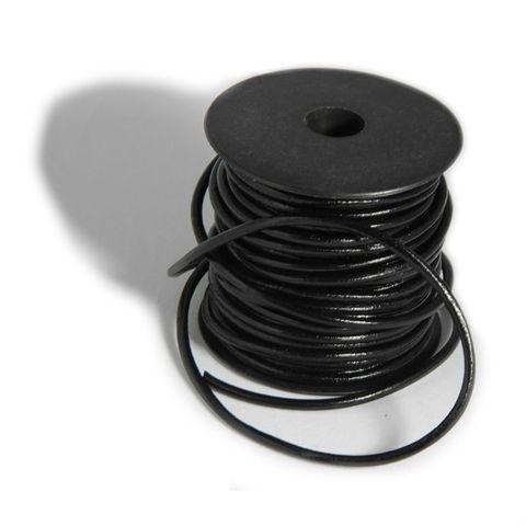 Lederschnur rund, Ø 2mm, 50m, Schwarz - Lederriemen Lederband auf Rolle