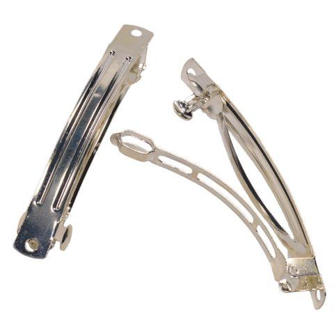 Haarspange Rohling Metall silberfarbig 80mm Schmuck basteln, 1000 Stk Großpackung – Bild 1