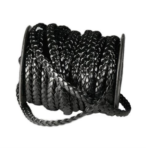 Kunst-Lederband geflochten 3-fach gewickelt flach 8mm schwarz - 20m Rolle