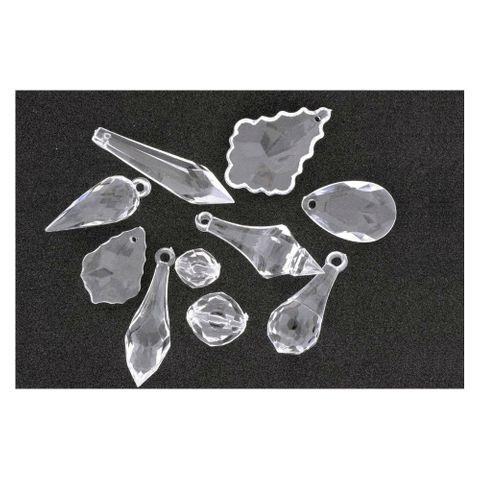 Acryl Anhänger Tropfen 10er Mix facettiert kristall klar - Schmuck Deko Lüster