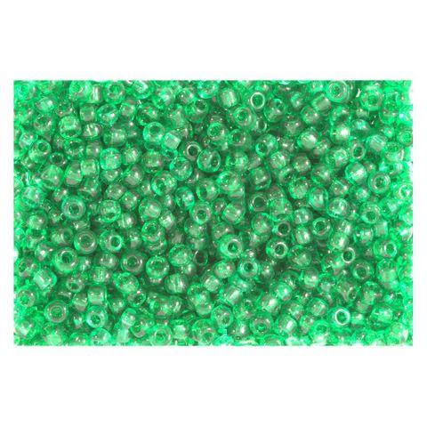 Rocailles Perlen transparent 2,5mm (9/0), grün - 30g (ca. 1.200 Stück)