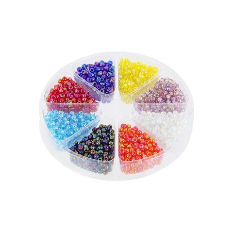 Perlenset Rocailles Rainbow 2mm, Dose 57g, 8 Farben regenbogen