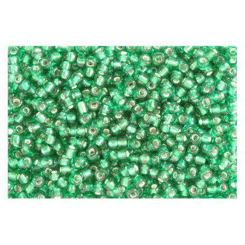 Rocailles Silbereinzug 2,6mm Silverline Perlen grün - 500g Großpackung (ca.19000 St)