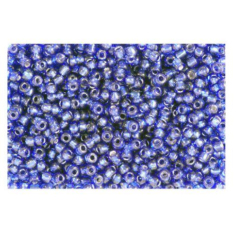 Rocailles Silbereinzug 2,6mm Silverline Perlen dunkelblau - 30g (ca.1150 St)